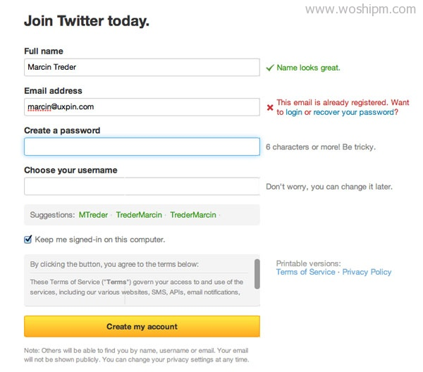 Twitter Form Validation Error UI Design Pattern