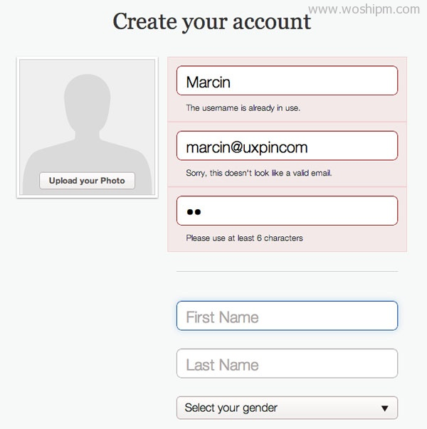 Pinterest Form Validation Error Message UI Design Pattern