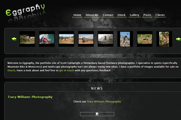 Eggraphy dark interface website layout