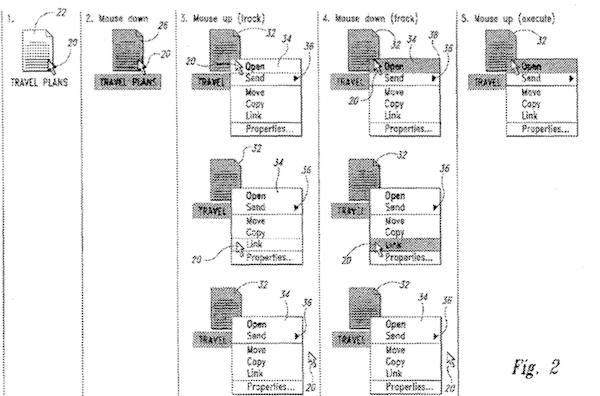 微软有关上下文弹出菜单的专利