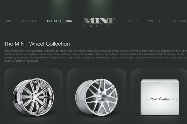 Mint Wheels website interface layout inspiration