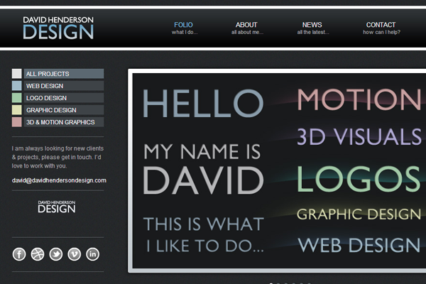David Henderson dark portfolio website layout screenshot