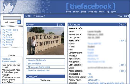 * Facebook最初始的设计界面,那时候它还叫做thefacebook.com。当时,想要在上面开个账户必须有一个以.edu(哈佛大学)结尾的邮箱才行。