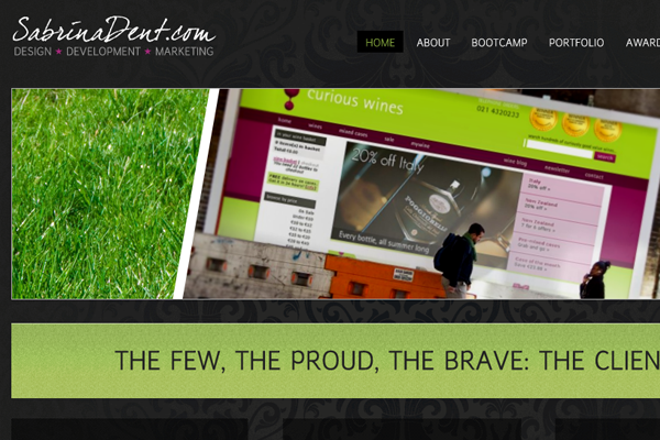 sabrina dent website layout design portfolio