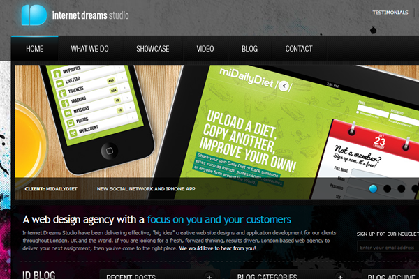 Internet Dreams studio website layout portfolio