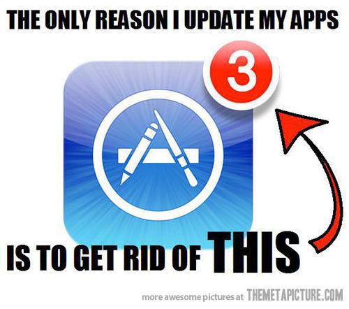 对于某些强迫症用户来说,更新APP的唯一目的就是为了消除这个数字。