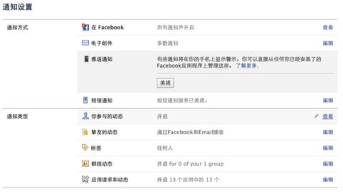 facebook消息通知设置