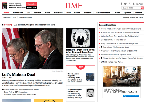 TIME homepage