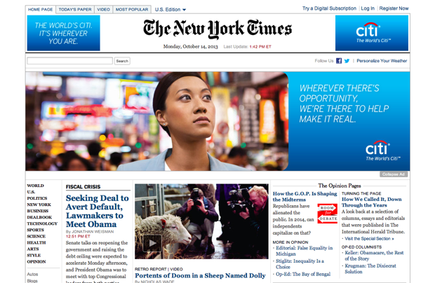 Banner advertising used on The New York Times website.