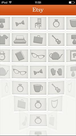 Etsy:启动界面从下到上再由内到外呈现出一张图片,视觉冲击力很好;