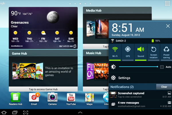 galaxy tab notification