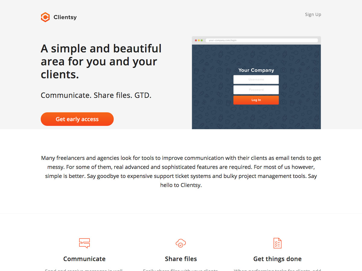 clientsy launch page