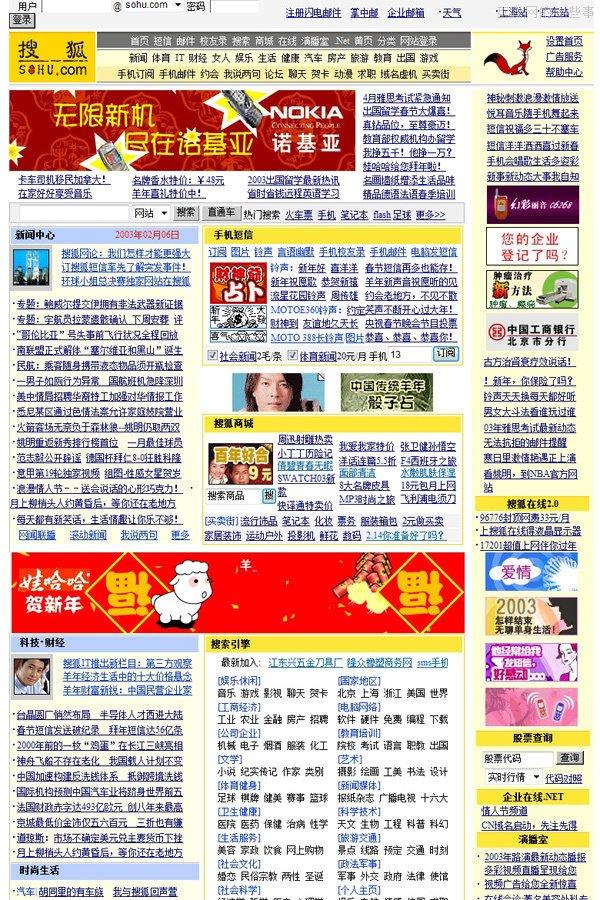 2003年的搜狐网首页