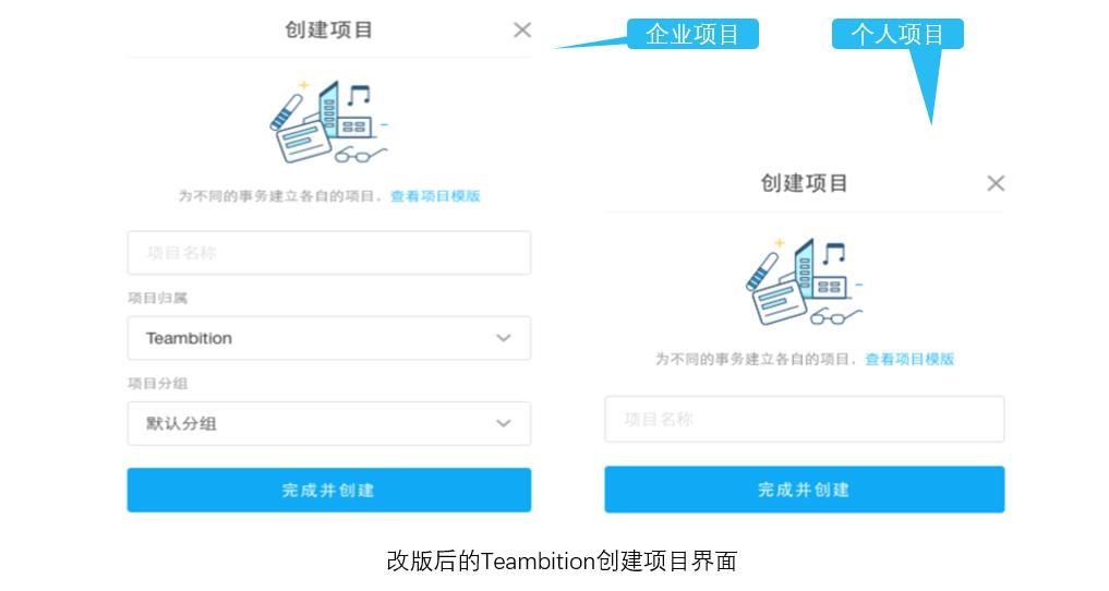 改版后的Teambition创建项目界面