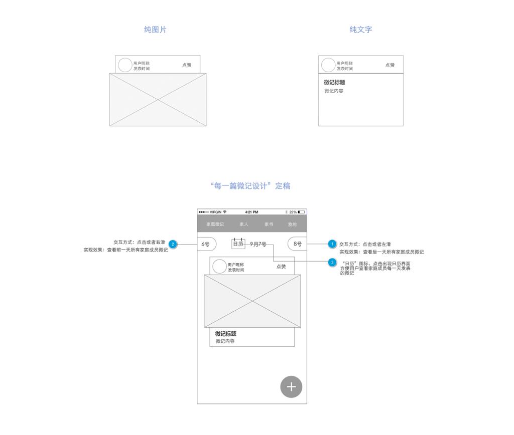 微记功能界面的原型设计稿