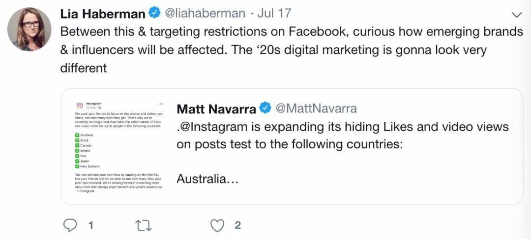 Instagram隐藏点赞数后,国外社交媒体发生了什么?  海外Weekly