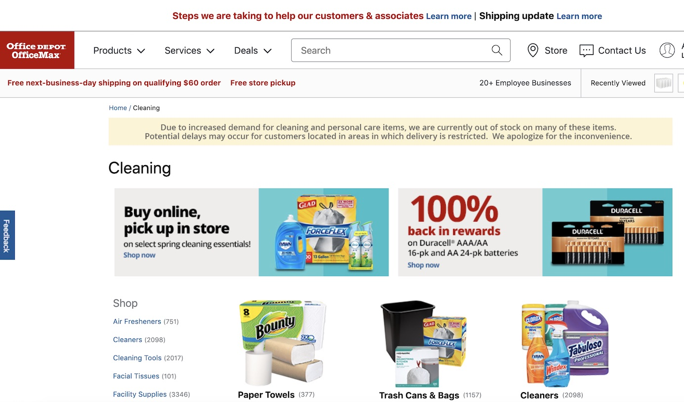 Office Depot Office Max Cleaning Category Page Banner COVID